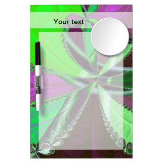 緑および紫色のフラクタルパターン ミラー付きホワイトボード