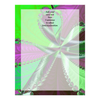 緑および紫色のフラクタルパターン レターヘッド