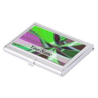 緑および紫色のフラクタルパターン 名刺入れ