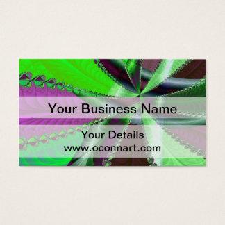 緑および紫色のフラクタルパターン 名刺