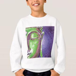 緑および紫色のモザイク仏は直面します スウェットシャツ