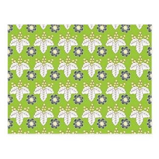 緑および紫色の花パターン春の壁紙 ポストカード