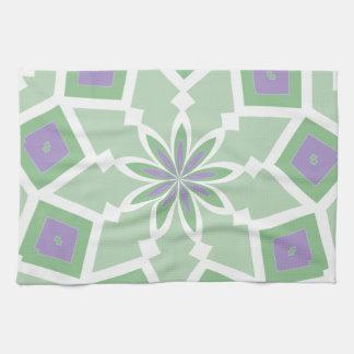緑および紫色の花柄のmojo手タオル キッチンタオル