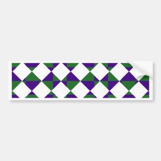 緑および紫色の逆の格子縞 バンパーステッカー