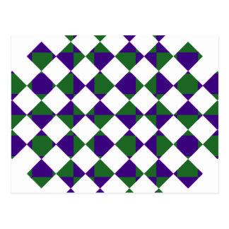 緑および紫色の逆の格子縞 ポストカード