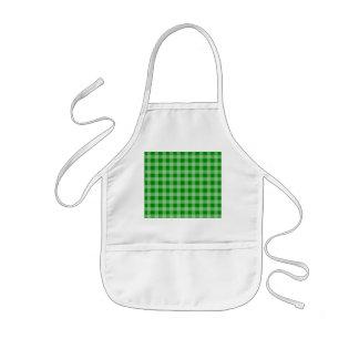 緑および薄緑のギンガムパターン 子供用エプロン