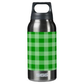 緑および薄緑のギンガムパターン 断熱ウォーターボトル