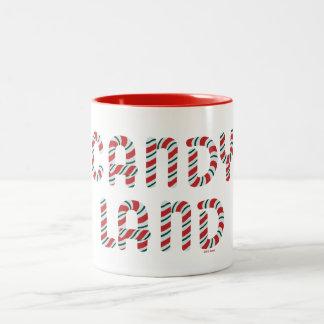 緑および赤いキャンデーの土地のロゴ ツートーンマグカップ