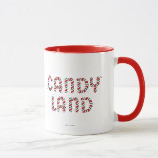 緑および赤いキャンデーの土地のロゴ マグカップ
