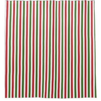 緑および赤いクリスマスのシャワー・カーテン シャワーカーテン
