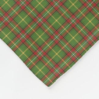 緑および赤いクリスマスの格子縞パターン フリースブランケット