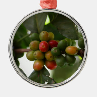 緑および赤いコーヒー豆 メタルオーナメント