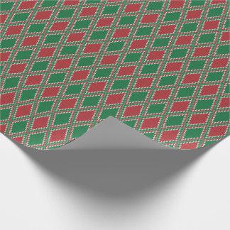 緑および赤いダイヤモンドのニットの包装紙 ラッピングペーパー