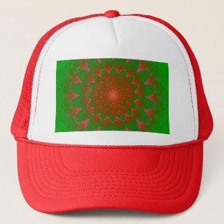 緑および赤い渦のトンネルのフラクタルの炎パターン キャップ