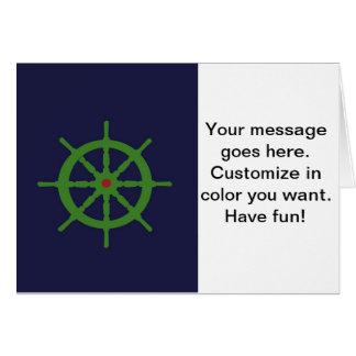 緑および赤い船の車輪 カード
