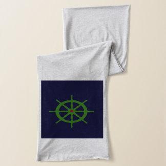 緑および赤い船の車輪 スカーフ
