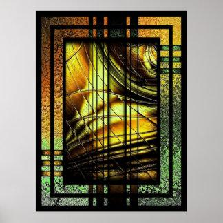 緑および金ゴールドのアールデコ ポスター