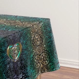 緑および金ゴールドのオリジナルのケルト族のハートの曼荼羅 テーブルクロス
