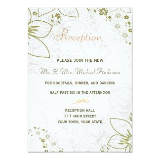 緑および金ゴールドのシンプルな結婚式のための披露宴カード カード