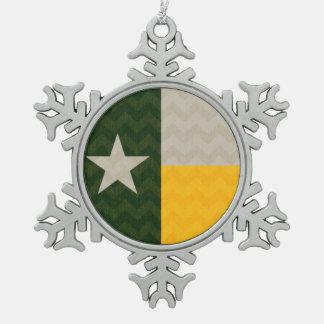 緑および金ゴールドのテキサス州の旗の生地シェブロン スノーフレークピューターオーナメント