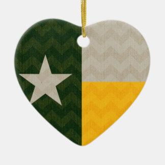 緑および金ゴールドのテキサス州の旗の生地シェブロン セラミックオーナメント