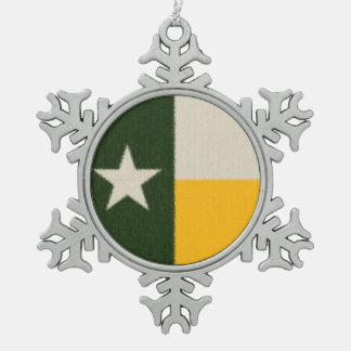 緑および金ゴールドのテキサス州の旗の生地 スノーフレークピューターオーナメント