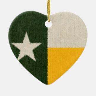 緑および金ゴールドのテキサス州の旗の生地 セラミックオーナメント