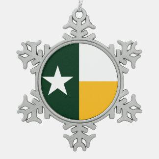 緑および金ゴールドのテキサス州の旗 スノーフレークピューターオーナメント