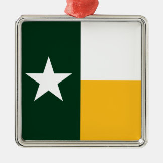 緑および金ゴールドのテキサス州の旗 メタルオーナメント