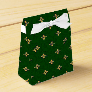 緑および金ゴールドのテントの好意箱 フェイバーボックス