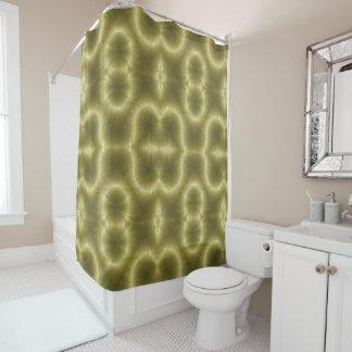緑および金ゴールドのレトロのペイズリー シャワーカーテン