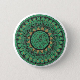 緑および金ゴールドの曼荼羅 5.7CM 丸型バッジ