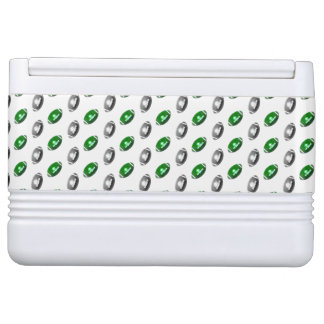 緑および銀製のフットボールパターン IGLOOクーラーボックス