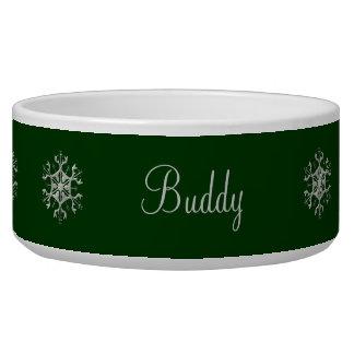 緑および銀製の雪片のペットボウル