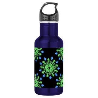緑および青のネオン花 ウォーターボトル