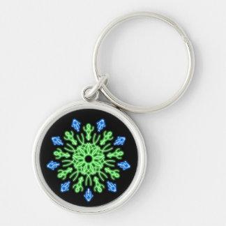 緑および青のネオン花 キーホルダー