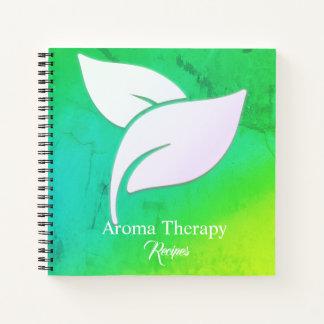 緑および青の勾配の香りのセラピーの葉 ノートブック