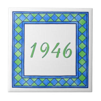 緑および青の小さい家数 タイル