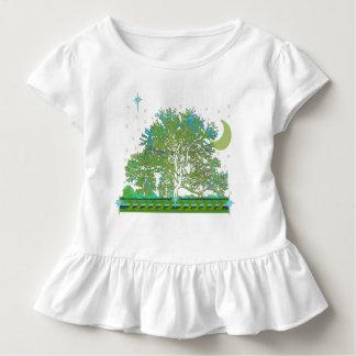 緑および青の森林木の青 トドラーTシャツ