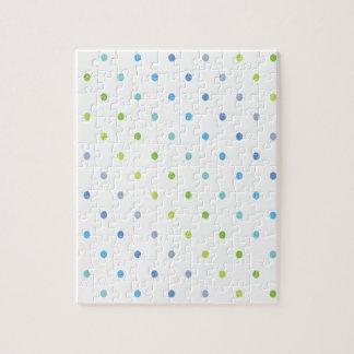 緑および青の水玉模様 ジグソーパズル