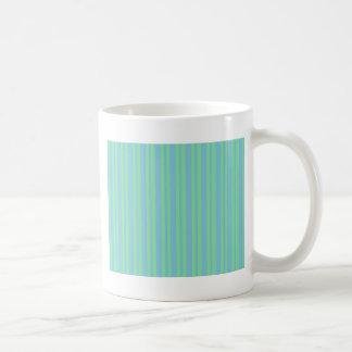 緑および青の細い縦縞 コーヒーマグカップ