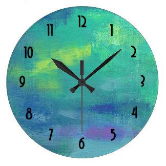 緑および青の陽気な印象派の抽象芸術 ラージ壁時計