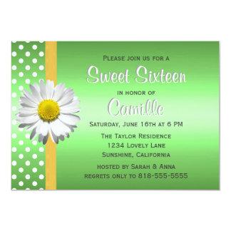 緑および黄色のデイジーのSweet sixteen カード