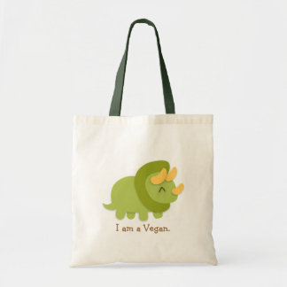 緑および黄色のトリケラトプスのかわいいの漫画 トートバッグ