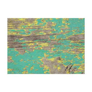 緑および黄色のペンキの皮をむくこと キャンバスプリント