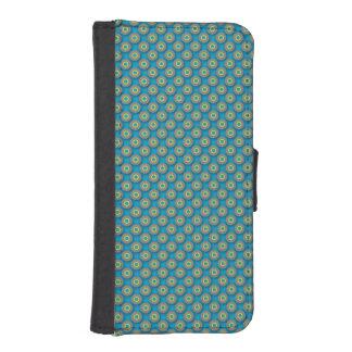 緑および黄色のポルカ点々のあるなI Phone5のウォレットケース iPhoneSE/5/5sウォレットケース