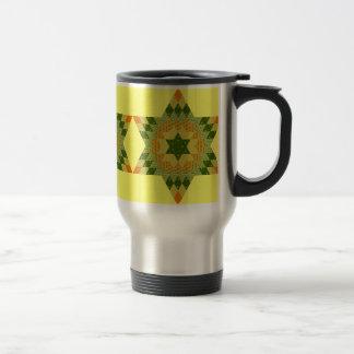 緑および黄色の星のキルト トラベルマグ