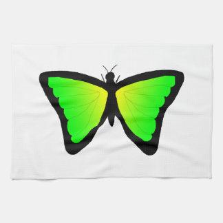 緑および黄色の蝶 キッチンタオル