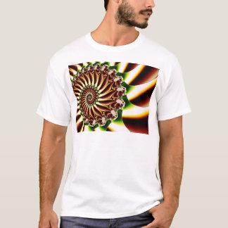 緑および黄色の螺線形の貝のフラクタル Tシャツ