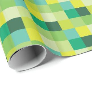 緑および黄色のPixelatedパターン|ピクセル芸術 ラッピングペーパー